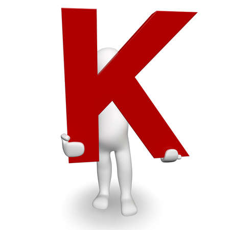 3D Human charcter holding red letter K, 3d render, isolated on white photo
