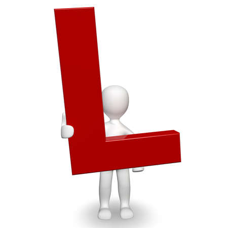 3D Human charcter bedrijf rode letter L, 3d render, geïsoleerd op wit Stockfoto