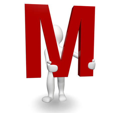 3D Human charcter holding red letter M, 3d render, isolated on white photo