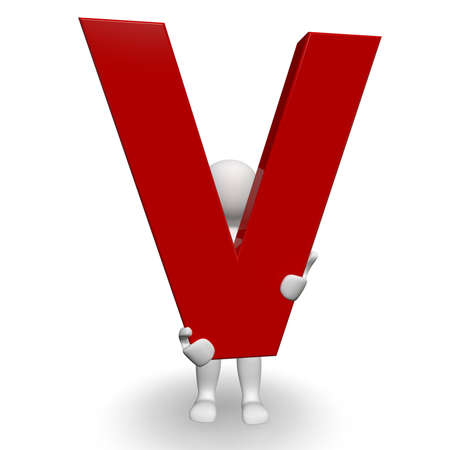 3D Human charcter die rode letter V, 3D render, geïsoleerd op wit Stockfoto