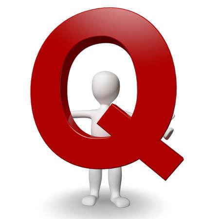 3D Human charcter bedrijf rode letter Q, 3d render, geïsoleerd op wit