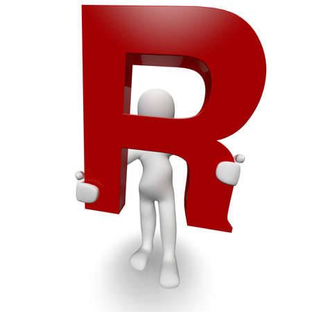 3D Human charcter holding red letter R, 3d render, isolated on white photo