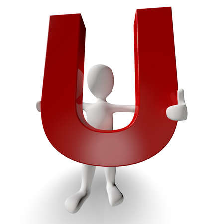 3D Human charcter holding red letter U, 3d render, isolated on white