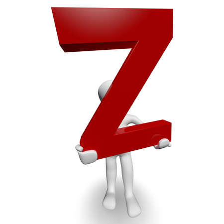3D Human charcter bedrijf rode letter Z, 3d render, geïsoleerd op wit