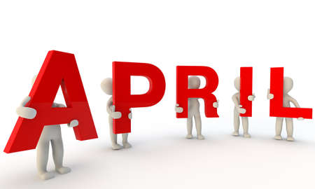 3D humans forming red word April made from 3d rendered letters isolated on white Stock Photo