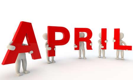 3D mensen het vormen van rode woord april gemaakt van 3d teruggegeven letters op een witte
