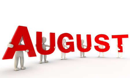 august calendar: 3D humans forming red word August made from 3d rendered letters isolated on white