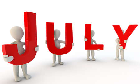 3D humans forming red word July made from 3d rendered letters isolated on white