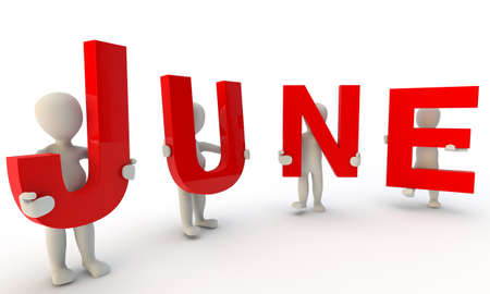 june: 3D humans forming red word June made from 3d rendered letters isolated on white