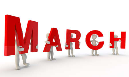 3D humans forming red word March made from 3d rendered letters isolated on white Stock Photo