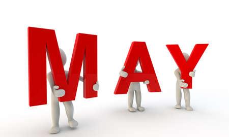 3D mensen het vormen van rode woord kan gemaakt van 3d teruggegeven letters op een witte