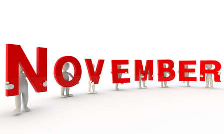 expressing positivity: 3D humans forming red word November made from 3d rendered letters isolated on white