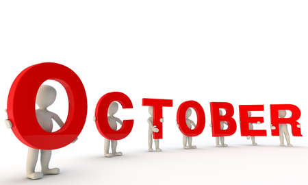 october calendar: 3D humans forming red word October made from 3d rendered letters isolated on white