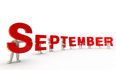 3D mensen het vormen van rode woord september gemaakt van 3d teruggegeven letters op een witte