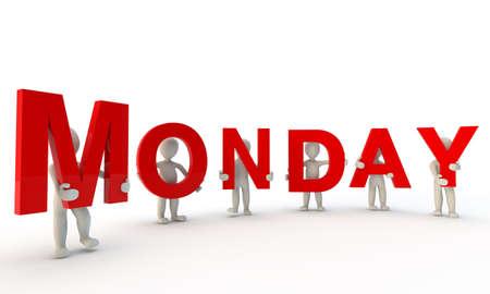 3D mens die rode woord maandag gemaakt van 3d teruggegeven brieven geïsoleerd op wit Stockfoto
