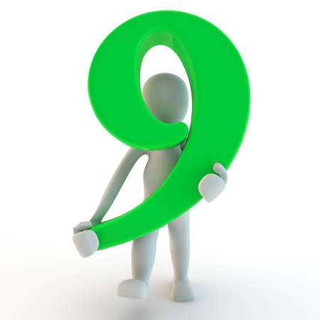 nine: 3D Human charcter holding green number nine, 3d render, isolated on white