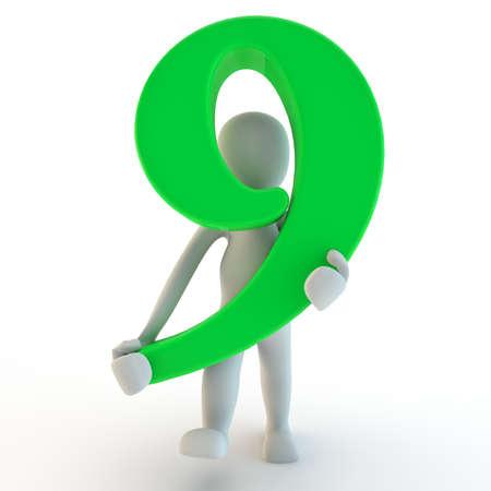 3D Human charcter houden van groen nummer negen, 3D render, geïsoleerd op wit Stockfoto