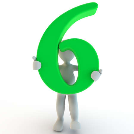 3D Human charcter holding green number six, 3d render, isolated on white photo