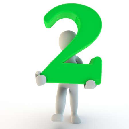 3D Human charcter houden van groen nummer twee, 3D render, geïsoleerd op wit