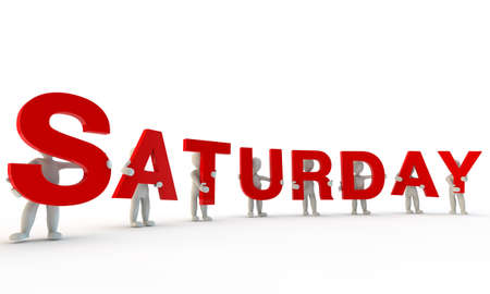 expressing positivity: 3D humans forming red word Saturday made from 3d rendered letters isolated on white Stock Photo