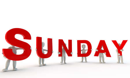 3D humans forming red word Sunday made from 3d rendered letters isolated on white