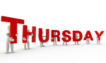 thursday: 3D humans forming red word Thursday made from 3d rendered letters isolated on white