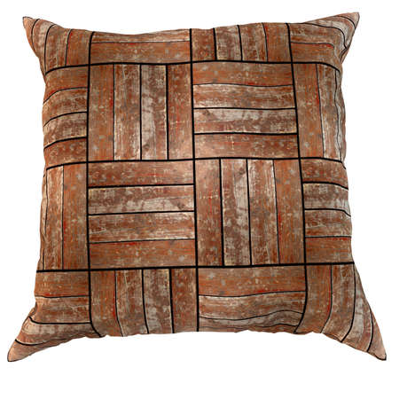 3d om: Wooden pillow 3d render isolated om white