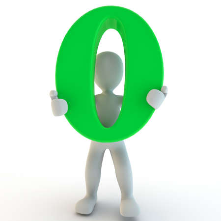 3D Human charcter holding green zero, 3d render, isolated on white