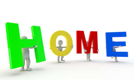 3D humans forming colorfull HOME word, 3d render isolated on white Stock Photo - 11578842