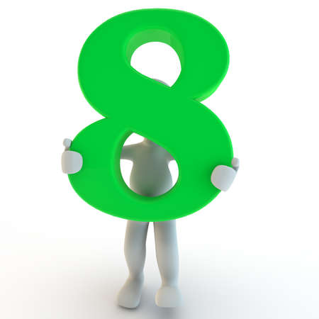 3D Human charcter holding green number eight, 3d render, isolated on white photo