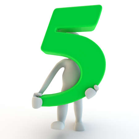 3D Human charcter holding green number five, 3d render, isolated on white