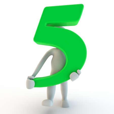 3D Human charcter houden van groen nummer vijf, 3D render, geïsoleerd op wit