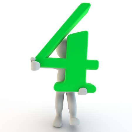 3D Human charcter houden van groen nummer vier, 3D render, geïsoleerd op wit