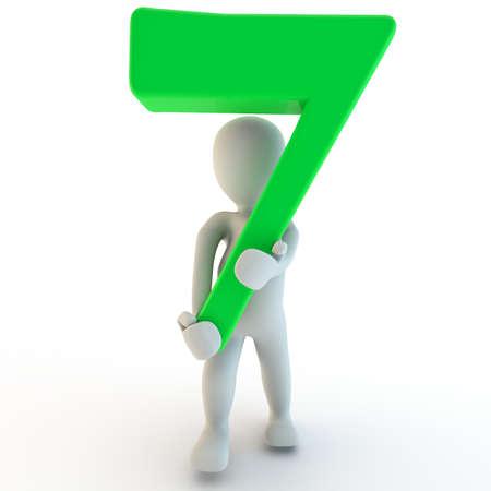 3d human: 3D Humanos charcter la celebraci�n de siete n�mero verde, 3d, aislado en blanco
