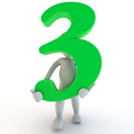 3D Human charcter die groene nummer drie, 3d render, geïsoleerd op wit