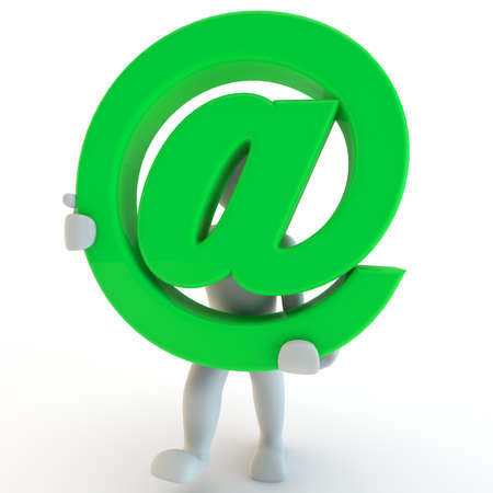 3D Human charcter holding green sign at, 3d render, isolated on white photo