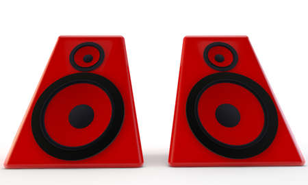 Big red plastic speakers, 3d render isolated on white photo