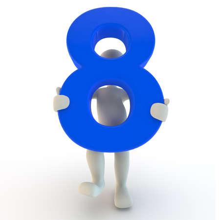 3D menselijk karakter houden van blauw nummer acht, 3D render Stockfoto