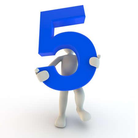 3D menselijk karakter houden blauw nummer vijf, 3d render