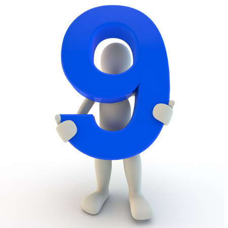 3D Human character holding blue number nine, 3d render