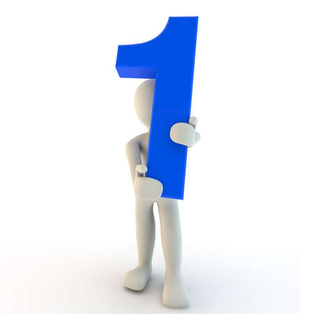 3D Human character holding blue number one Stock Photo