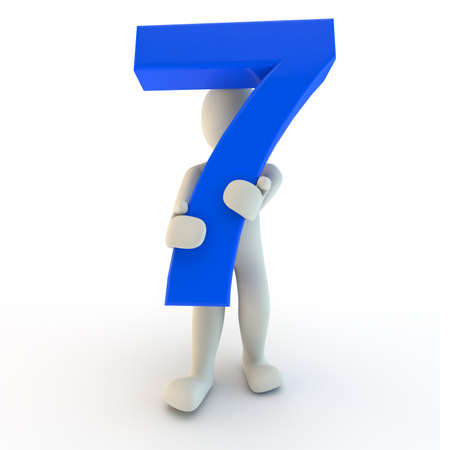 seven: 3D Human character holding blue number seven