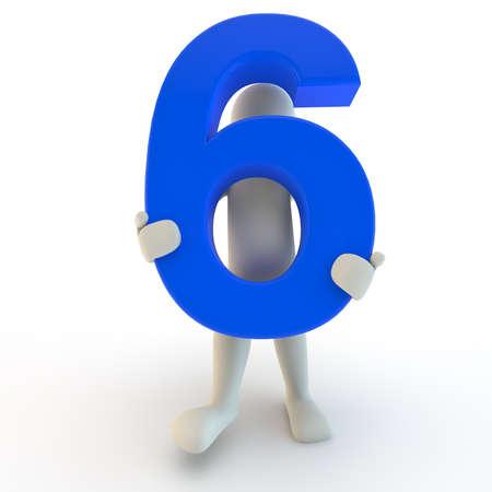 3D menselijk karakter houden van blauw nummer zes, 3D render Stockfoto