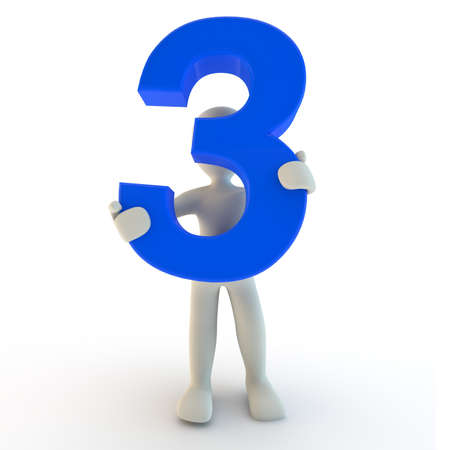 numbers abstract: 3D Human character holding blue number three, 3d render Stock Photo