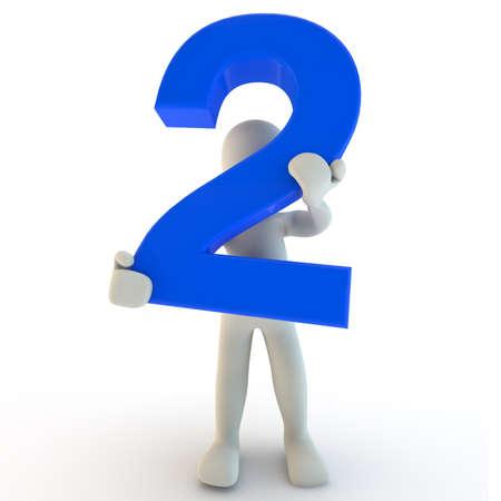 3D menselijk karakter houden blauw nummer twee, 3d render