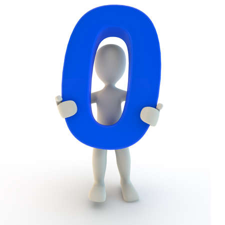 numbers abstract: 3D Human character holding blue number zero, 3d render Stock Photo