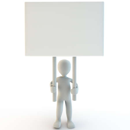 3d human with a blank sign, 3d render  photo