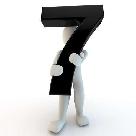 3D menselijk karakter met zwarte nummer zeven, kleine mensen, 3d render op wit wordt geïsoleerd