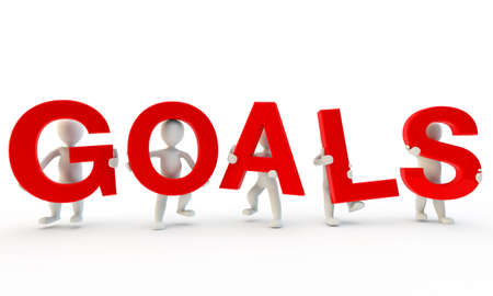 3D humans forming red goals word,3d render Stock Photo