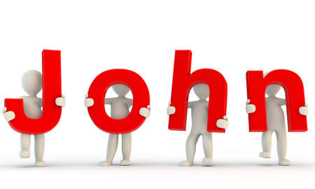 john: 3D humans forming red John word, 3d render isolated on white Stock Photo